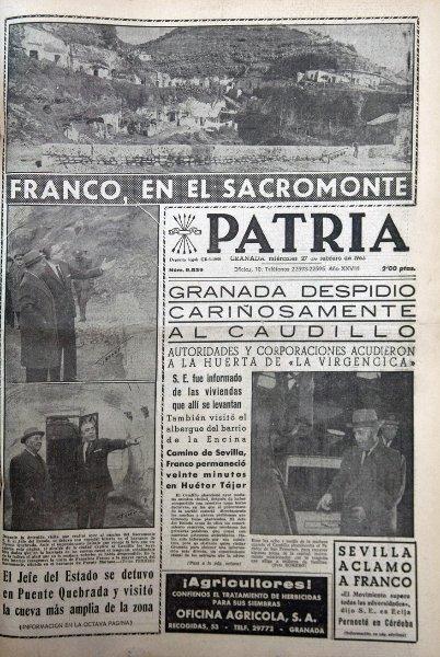 Franco y el alcalde, en la cueva de Mariano