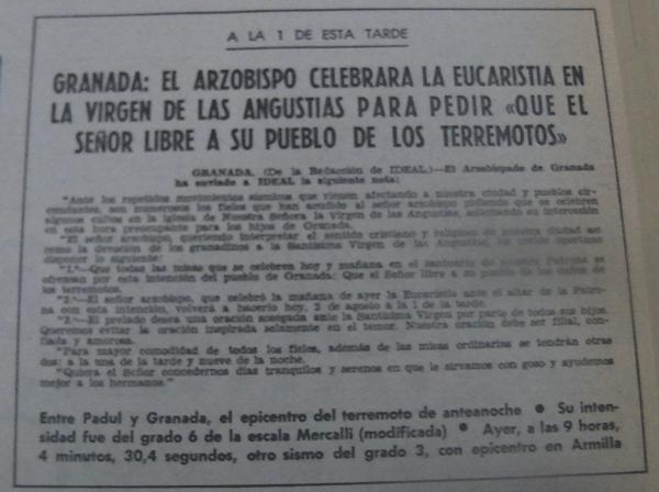 terremotos en Granada misa arzobispo