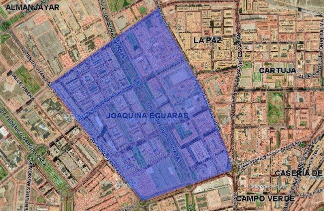 Mapa del barrio Joaquina Eguaras, según el Ayuntamiento de Granada
