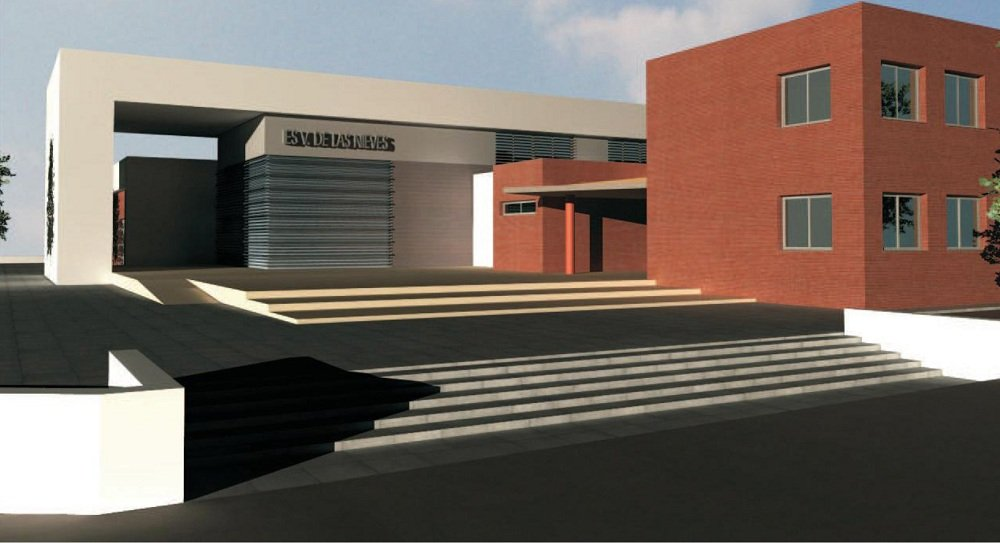 Infografía del actual edificio de electrónica, a la derecha, y la nueva construcción