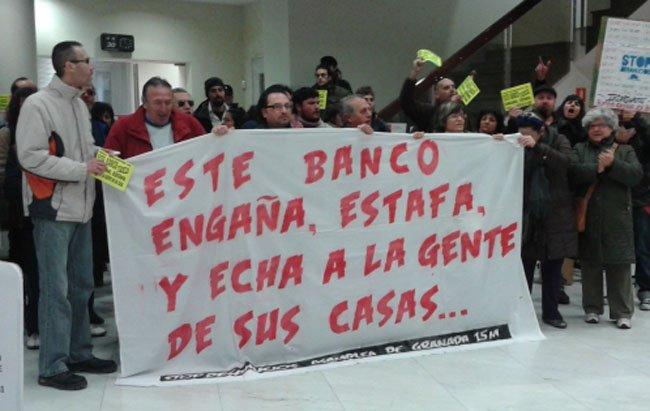 Protesta en la sucursal de Santander