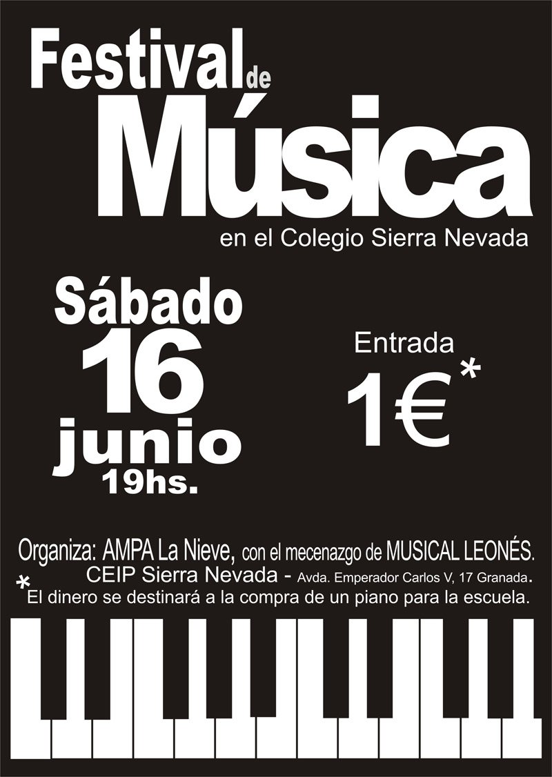 Cartel del Festival de Música del colegio Sierra Nevada.