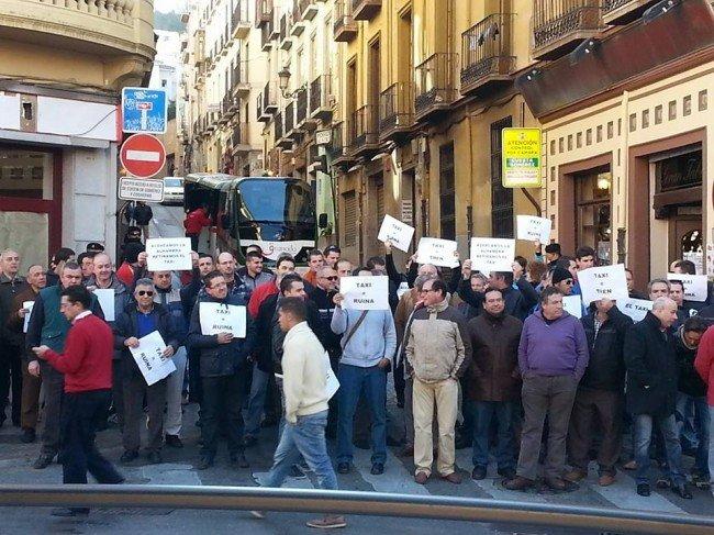 taxistas, protesta, Cuesta de Gomérez