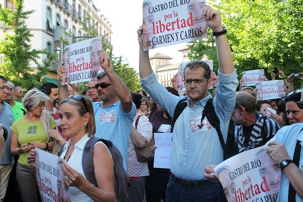 Carmen Bajo, en una de las manifestaciones que se convocaron para reclamar su libertad.