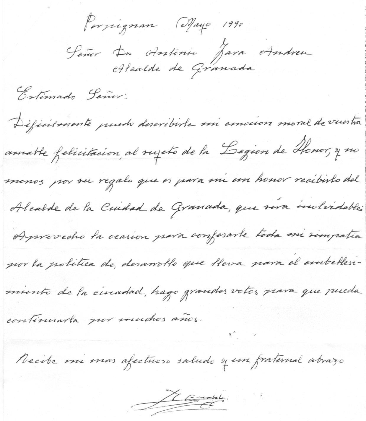 Carta dirigida al exalcalde Antonio Jara para agradecerle la distinción de la Medalla de la Ciudad.