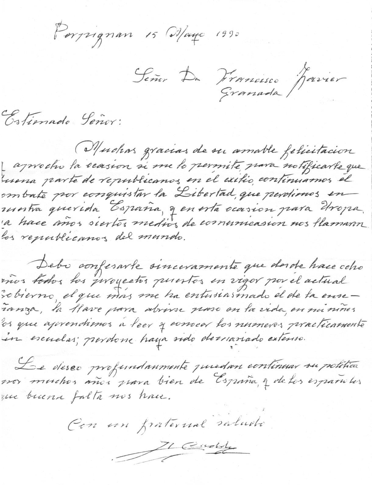 """Carta dirigida al exdiputado Francisco Javier Valls, donde elogia la labor del gobierno en la enseñanza, """"la llave para abrirse paso en la vida""""."""