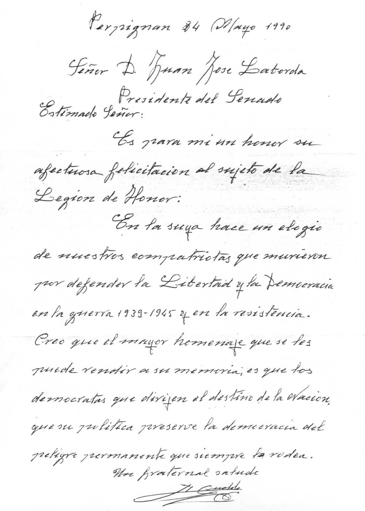 Carta dirigida al ex presidente del Senado, Juan José Laborda