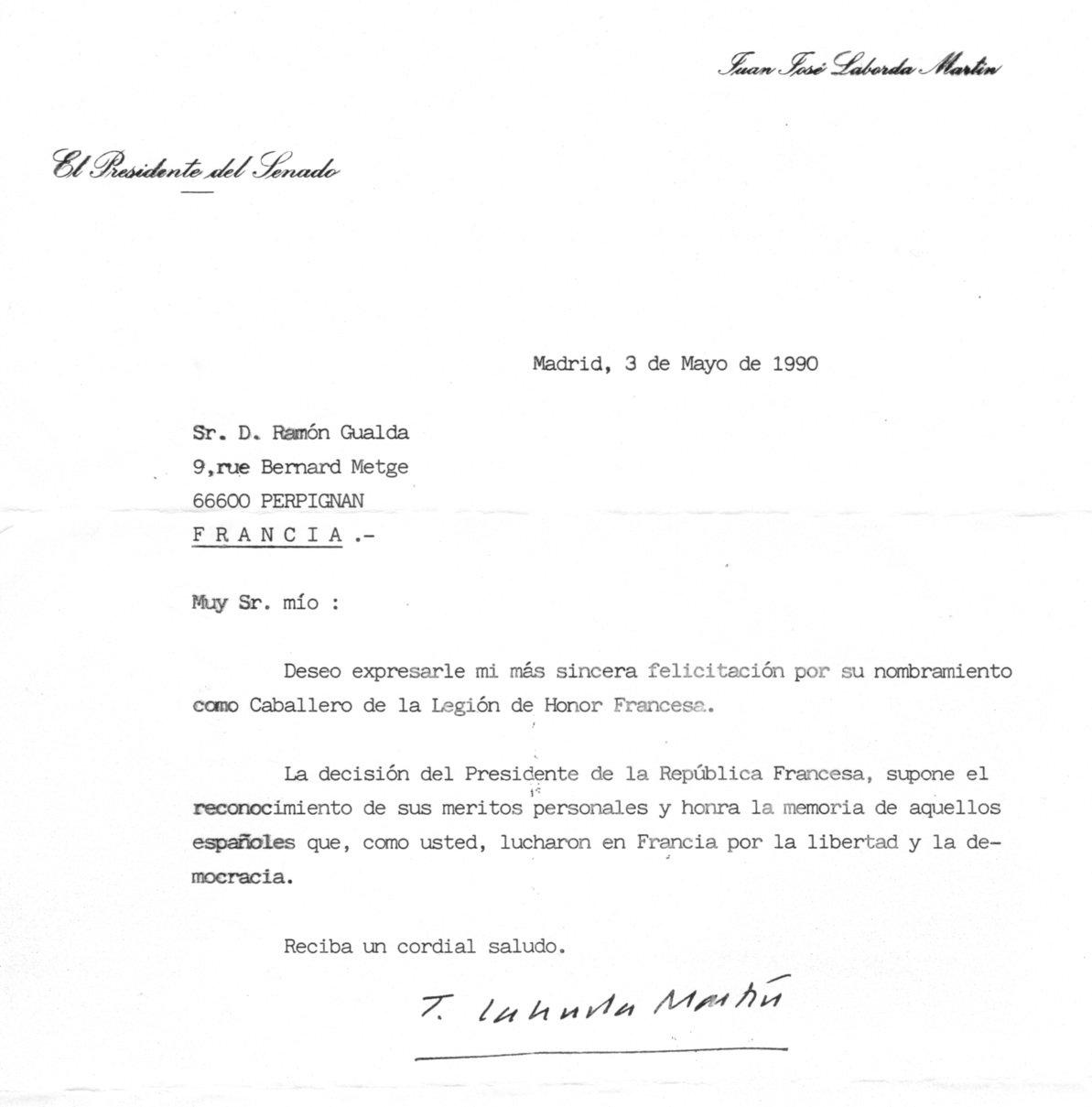 Felicitación del expresidente del Senado, Juan José Laborda.