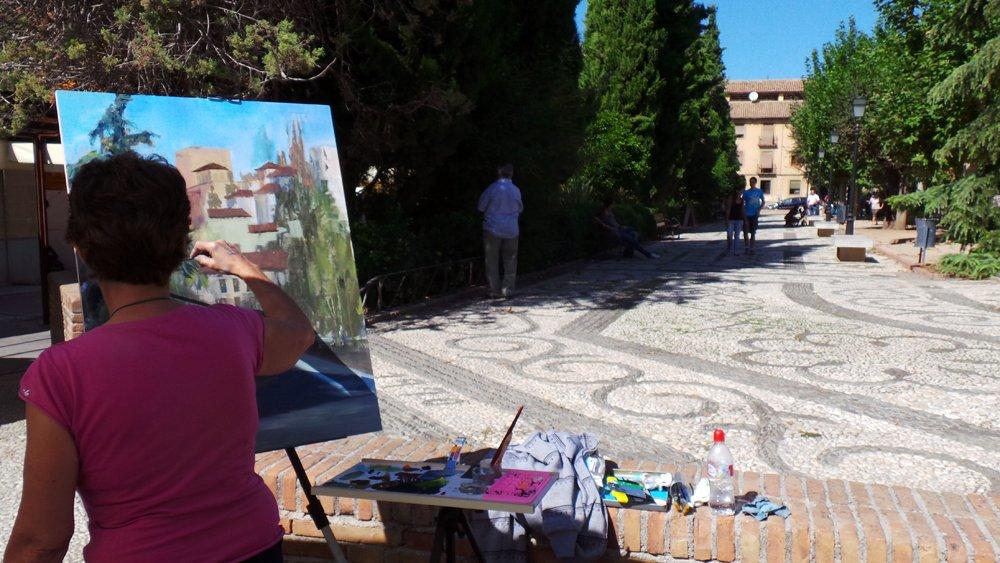 Participantes en el certamen de pintura al aire libre