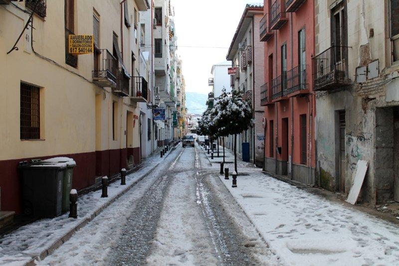 Calle Santiago, recién nevada