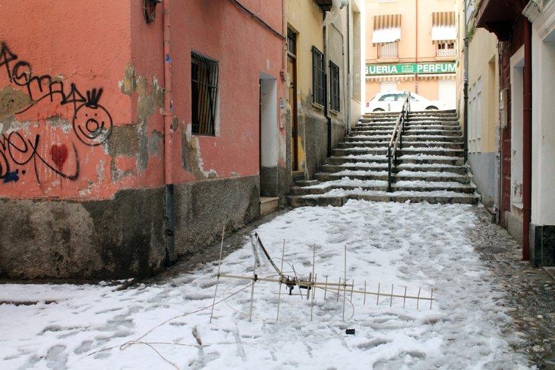 Antena caída por la nevada