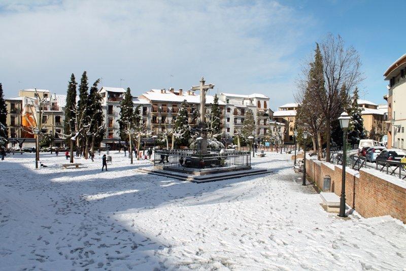 Panorámica del Campo del Príncipe nevado