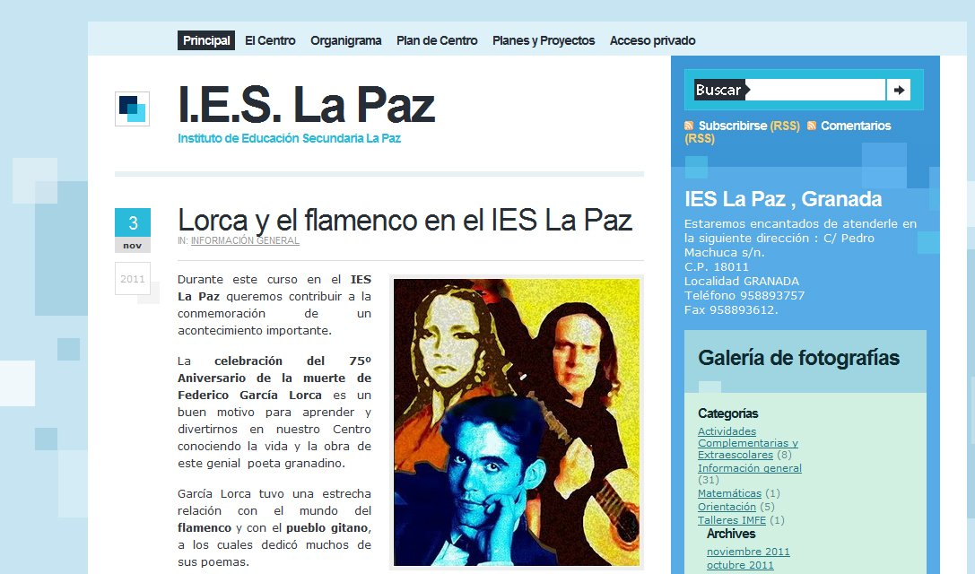 Web IES La Paz premio Cibersur