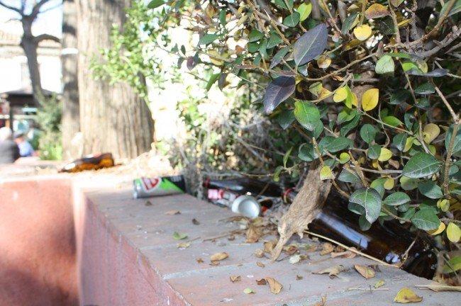 Botellas y latas en una jardinera de la plaza de la Unidad