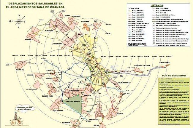 plano desplazamiento en bici Granada y cinturón metropolitano Eco21