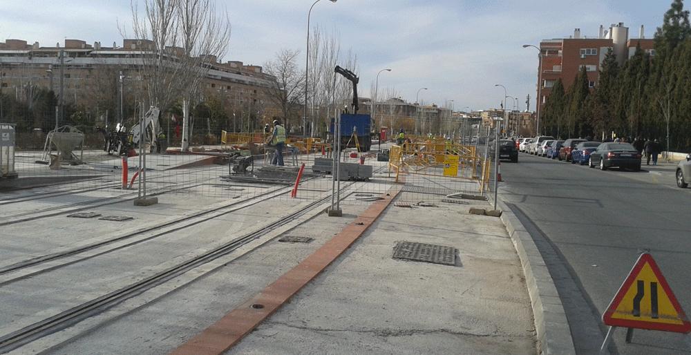 Obras del metro en uno de los tramos del Zaidín.