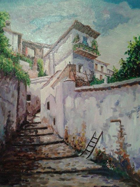 Óleo de una calle del Albaicín, de Antonio Benítez.