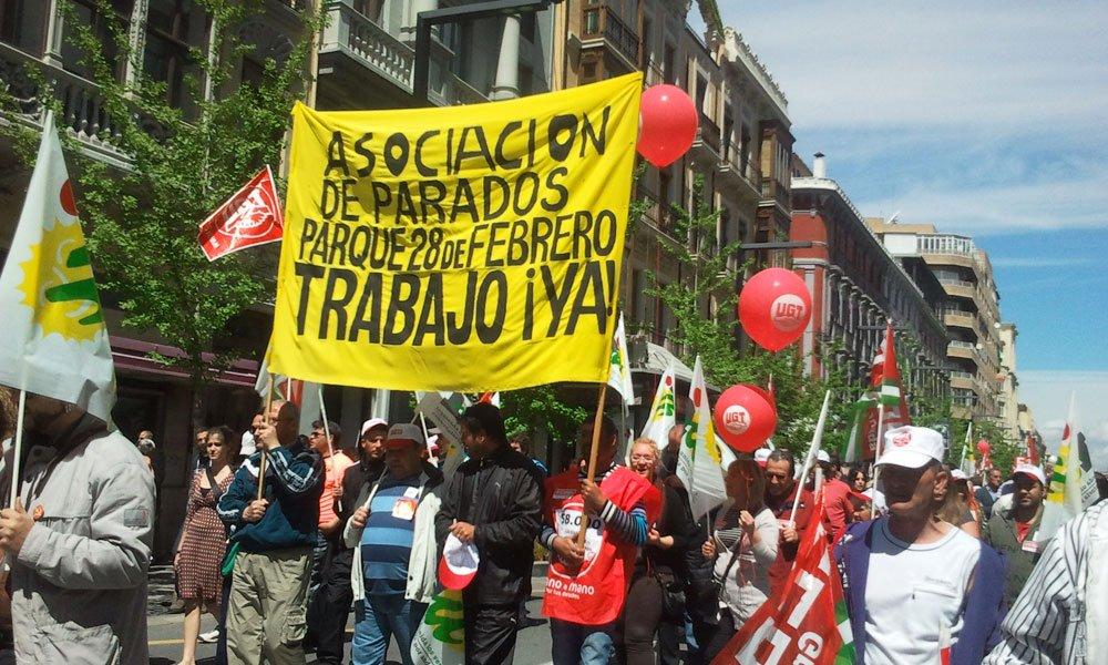 manifestación 1 de mayo 2012 Granada Asociación de parados Parque 28 de febrero
