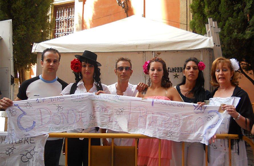 Familiares de los parados de Casería de Montijo también se sumaron al Corpus reivindicativo.