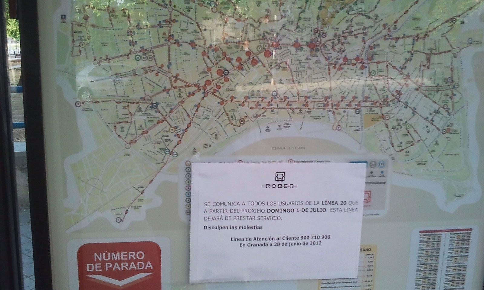 cartel rober fin del servicio linea 20