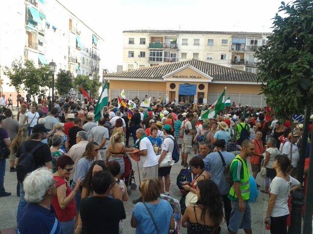 Parada de la marcha obrera del SAT en la plaza de las Palomas.