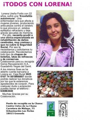 Recogida de latas y chapas para Lorena Ureña