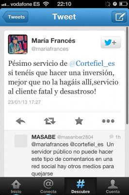 María Francés twitter Cortefiel