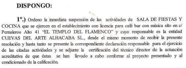 Inspección, Templo del Flamenco