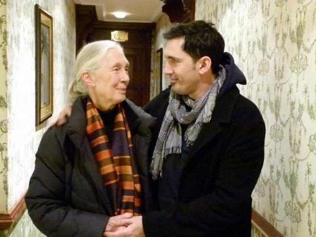Jane Goodall y César Bona.
