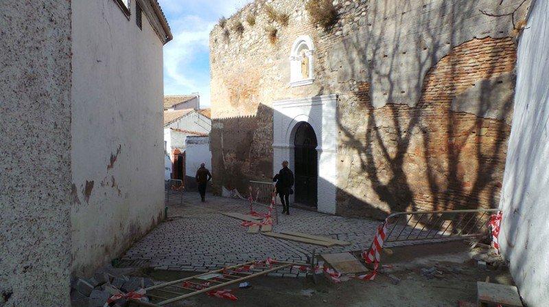 Carril de San Cecilio, obras de remodelación, adoquín