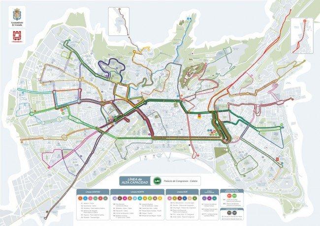 líneas de transporte de Granada, Granada, líneas de autobuses de Granada