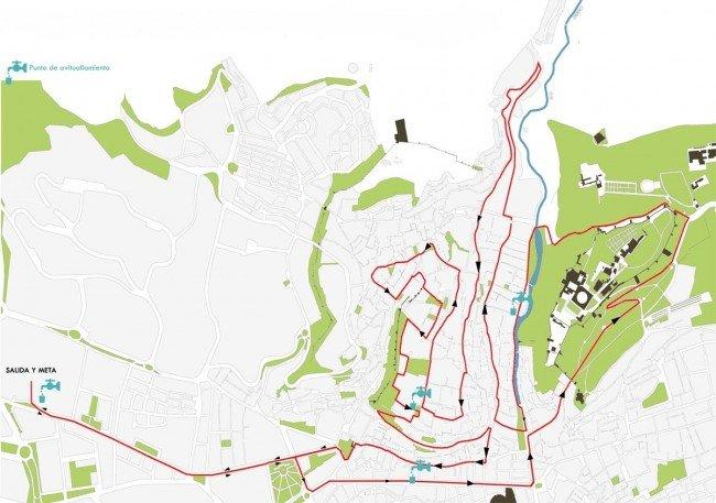 Recorrido de la carrera por las dos colinas: Albaicín y Alhambra.