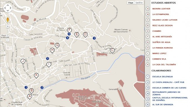 Mapa del 'Albayzín a mano' con los negocios artesanales y empresas colaboradoras.