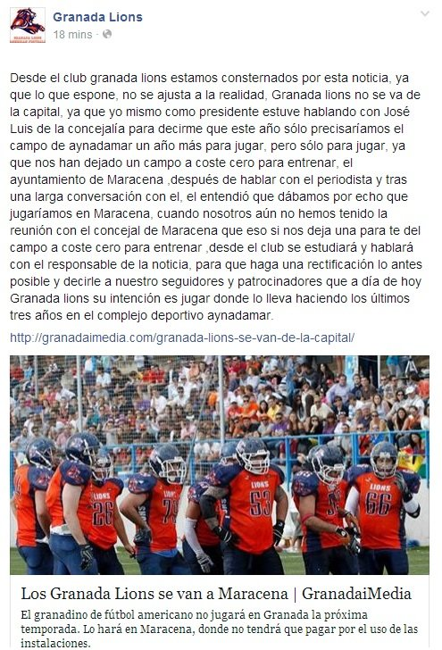 Comunicado del club.  Fuente: Página Oficial de los Granada Lions en Facebook