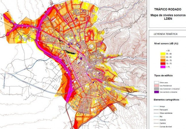 Mapa del ruido de la ciudad de Granada.