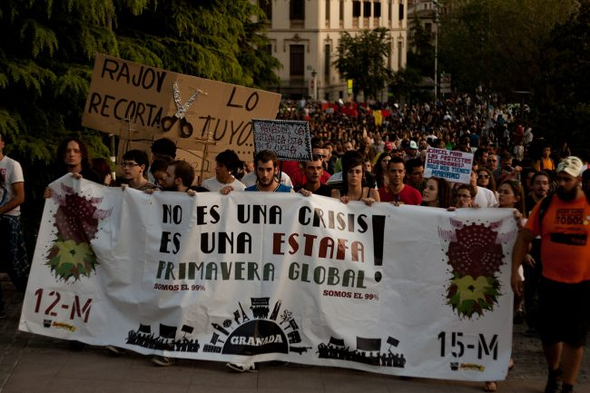 Manifestación del movimiento 15M en Granada. Foto: Alejandro G. Montoro